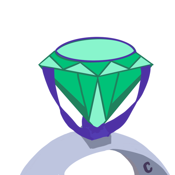 Silver ring with Communer monogram and green diamond and purple setting with