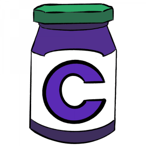 Green and purple jelly jar with Communer logo