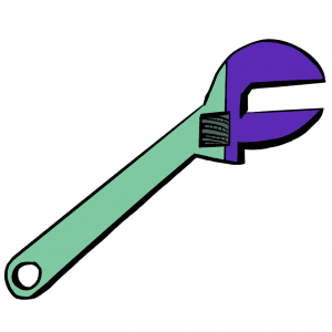 Green and purple Communer wrench