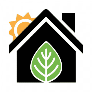 Grid Be Gone logo (house with leaf door and sun behind it)