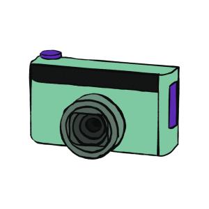 Green and purple camera cartoon