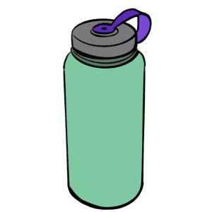 Green and purple sports bottle cartoon