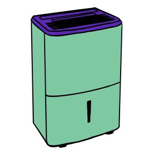Green and purple cartoon dehumidifier