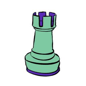Green and purple cartoon rook chess piece